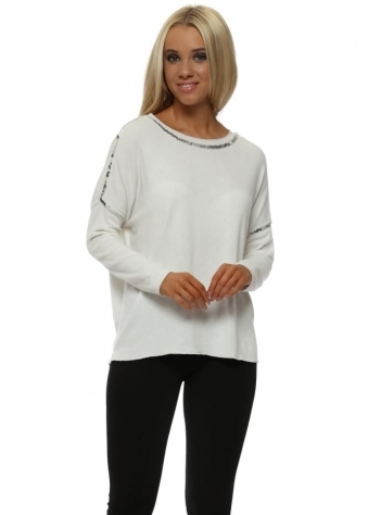 Soft Ivory Cotton Knit Silver Sequin Detail Jumper