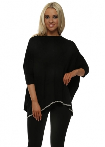 Black Ribbed Knit Chainmail Trimmed Batwing Jumper
