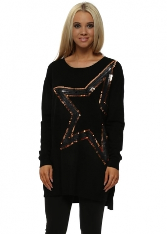 Black Dramatic Sequin Star Jumper