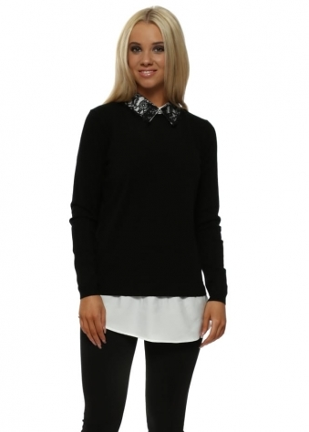 Contrast Lace Collar Black Shirt Jumper