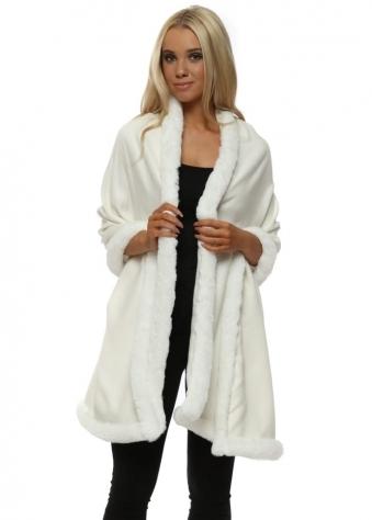 Ivory Cashmere Faux Fur Trimmed Wrap