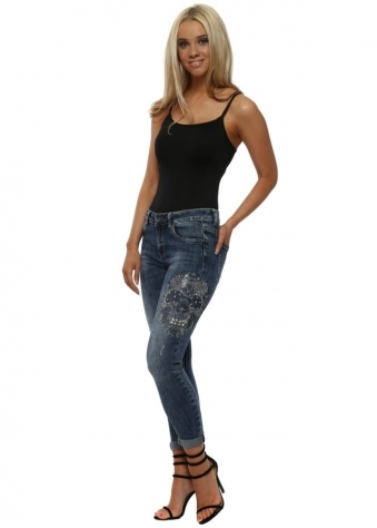 Blue Wash Crystal Skull Skinny Turn Up Jeans