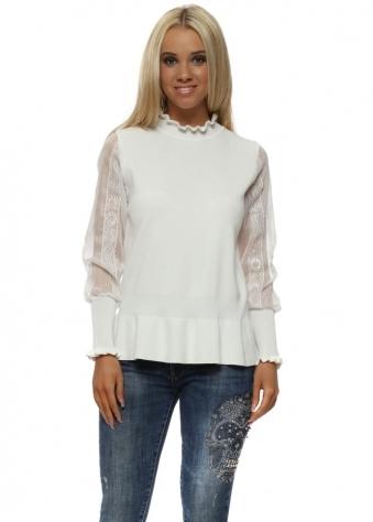 White Lace Sleeve Peplum Jumper