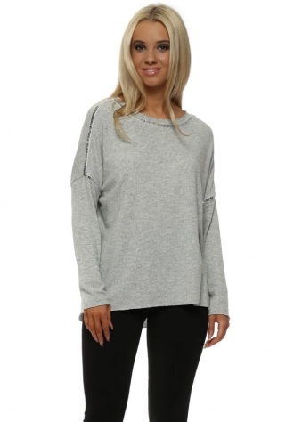 Soft Grey Cotton Knit Silver Sequin Detail Jumper