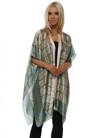 Green & Gold Silk Print Kimono