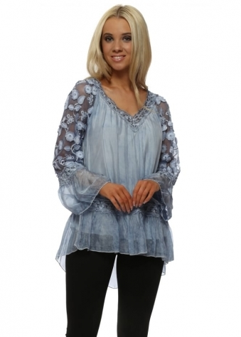 Pretty Blue Floral Embroidered Sleeves Silk Top