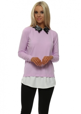Contrast Lace Collar Lilac Jumper