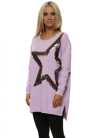 Lilac Dramatic Sequin Star Jumper