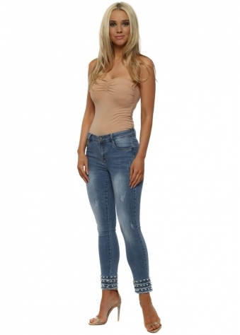 Blue Stretch Fit Pearl Ankle Jeans