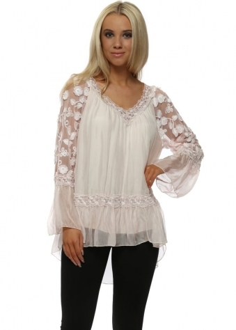Pretty Pink Floral Embroidered Silk Sleeves Top