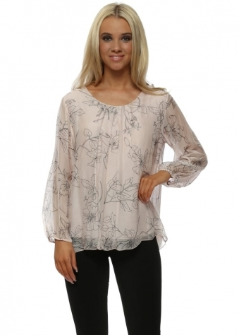 Soft Pink Lily Print Silky Floaty Top