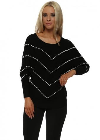 Black Pearl Embellished Batwing Jumper