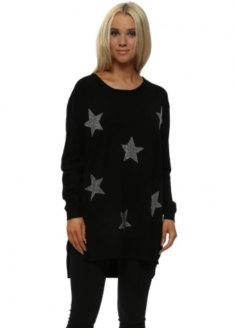 Black Studded Stars Relaxed Jumper