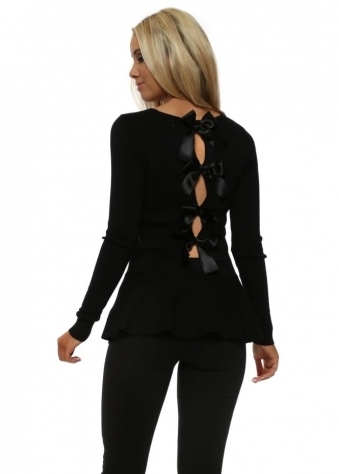 Black Peplum Hem Bow Back Jumper