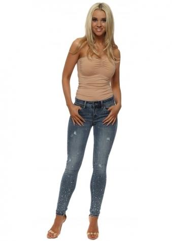 Blue Crystal & Stud Embellished Skinny Jeans