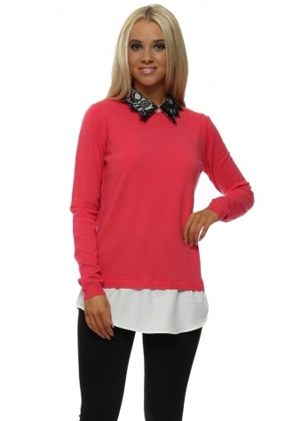 Contrast Lace Collar Strawberry Pink Jumper
