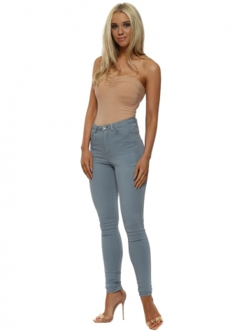 Light Blue Stretch Fit Skinny High Waisted Jeans