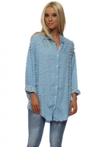 Blue Pearl Embellished Boyfriend Shirt