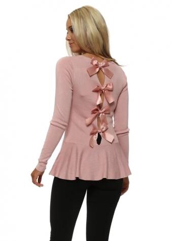 Dusky Pink Peplum Hem Bow Back Jumper