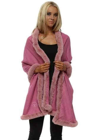 Raspberry Pink Cashmere Faux Fur Trimmed Wrap