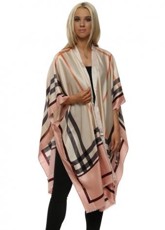 Pink Silk Check Print Kimono