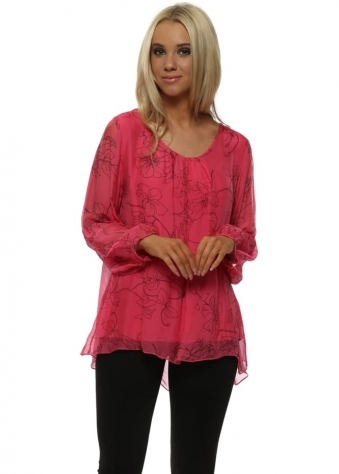Hot Pink Lily Print Silk Floaty Top