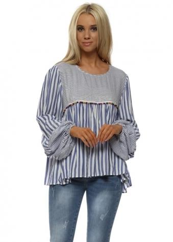 Blue & White Striped Multi Pom Pom Blouse Top