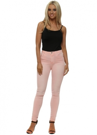 Baby Pink Stretch Fit Skinny High Waisted Jeans
