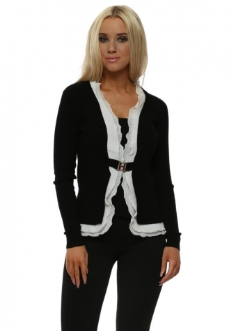 Black Ribbed Pearl Trimmed Two In One Cardigan