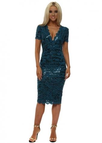 Teal Sequin Lace V Neckline Midi Dress