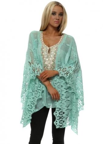 Aqua Cotton Crochet Beaded Kaftan Top