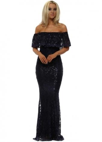 Navy Bardot Lace Sequinnned Maxi Dress