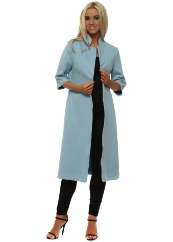 Light Blue Faux Suede Long Jacket