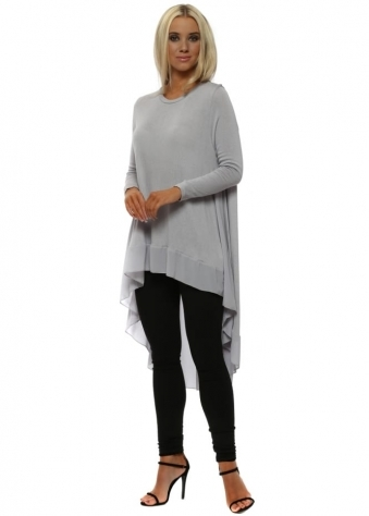 Dove Grey Chiffon Back Tunic Top