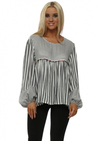 Grey & White Striped Multi Pom Pom Blouse Top