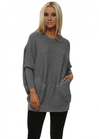 Grey Lattice Back Batwing Pockets Jumper