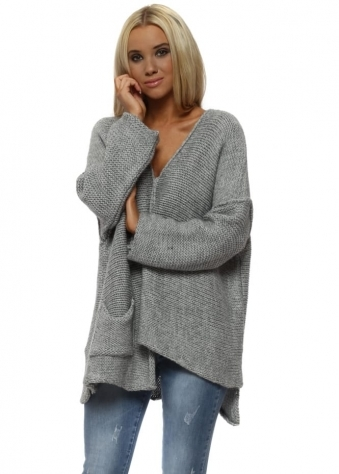 Grey Asymmetric Slouch Chunky Knit Jumper