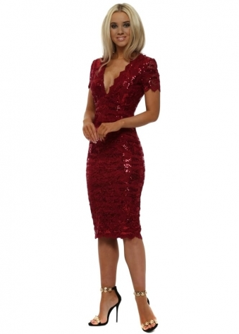 Red Sequin Lace V Neckline Midi Dress