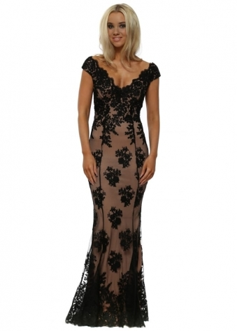 Stephanie Pratt Off The Shoulder Lace Maxi Dress