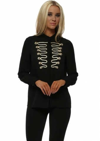 Black Chiffon Gold Detail Military Shirt