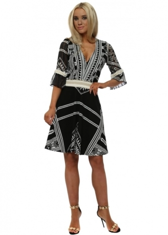 Black & White Geo Print Fit & Flare Dress