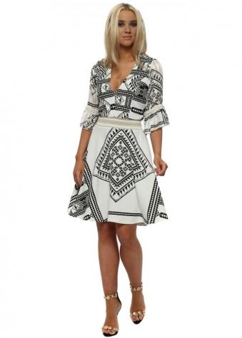 White & Black Geo Print Fit & Flare Dress