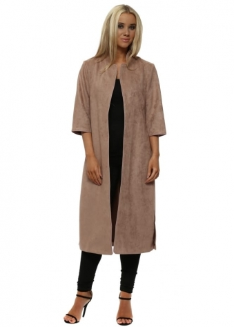 Taupe Faux Suede Long Jacket