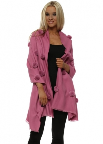 Raspberry Pink Cashmere Faux Fur Pom Pom Wrap