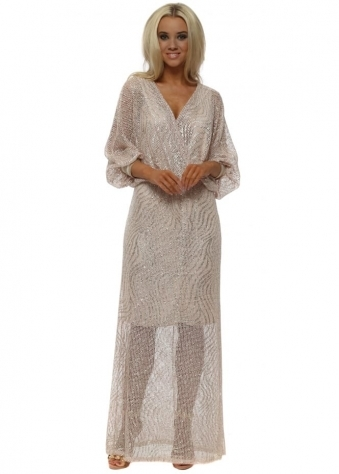 Baby Pink & Gold Crochet Wrap Front Maxi Dress