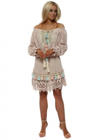 Pastel Pink Crochet Lace Tassels Dress