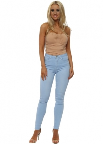 Baby Blue Stretch Fit Skinny High Waisted Jeans