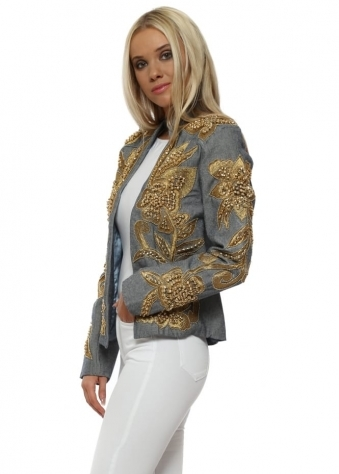 EXCLUSIVE Chambray Gold Embellished Trophy Jacket