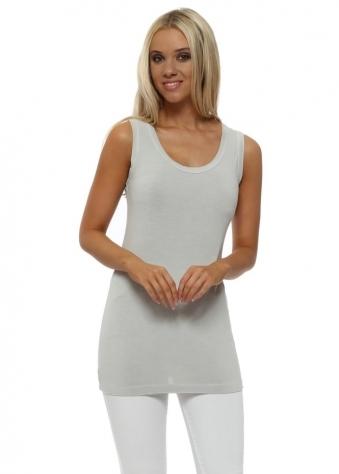 Plain Cut Edge Vest In Grey White