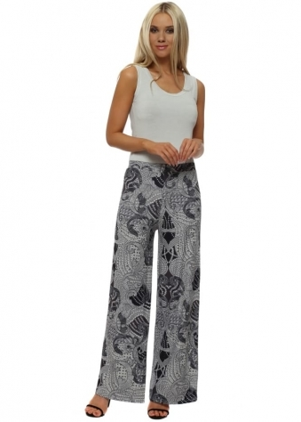 Lou Grey White Luxe Luxe Wide Leg Trousers